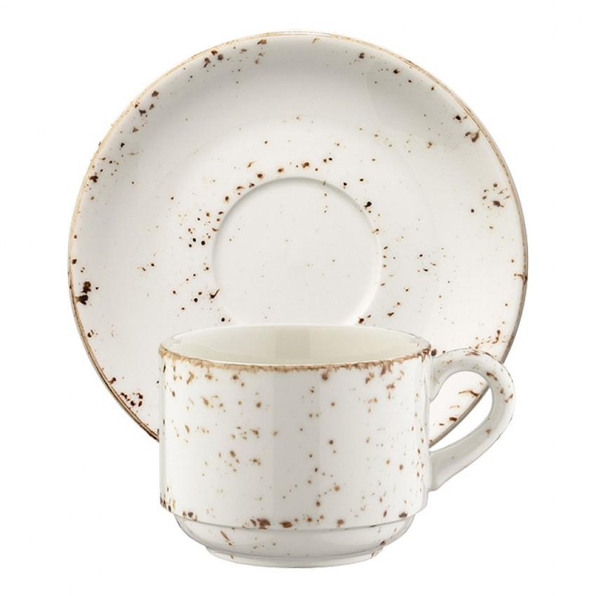 Чаша с чинийка за капучино Bonna Grain - 210мл. - 6 броя