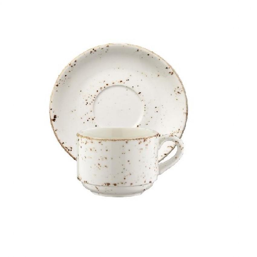 Чаша с чинийка за кафе Bonna Grain - 80мл. - 6 броя