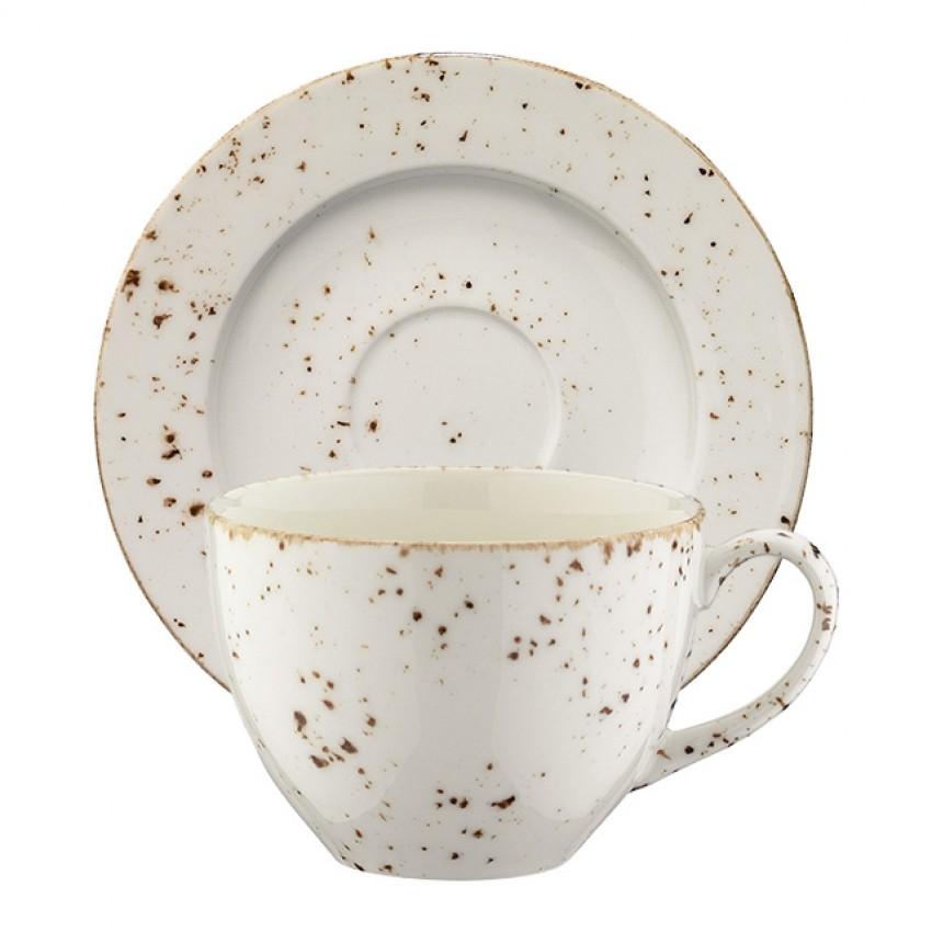 Чаша с чинийка за капучино Bonna Grain - 230мл. - 6 броя