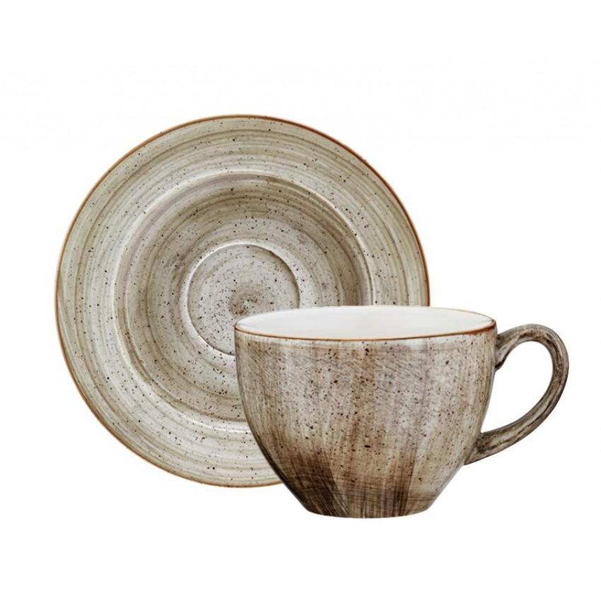 Чаша с чинийка за чай Bonna Terrain - 230мл. - 6 броя
