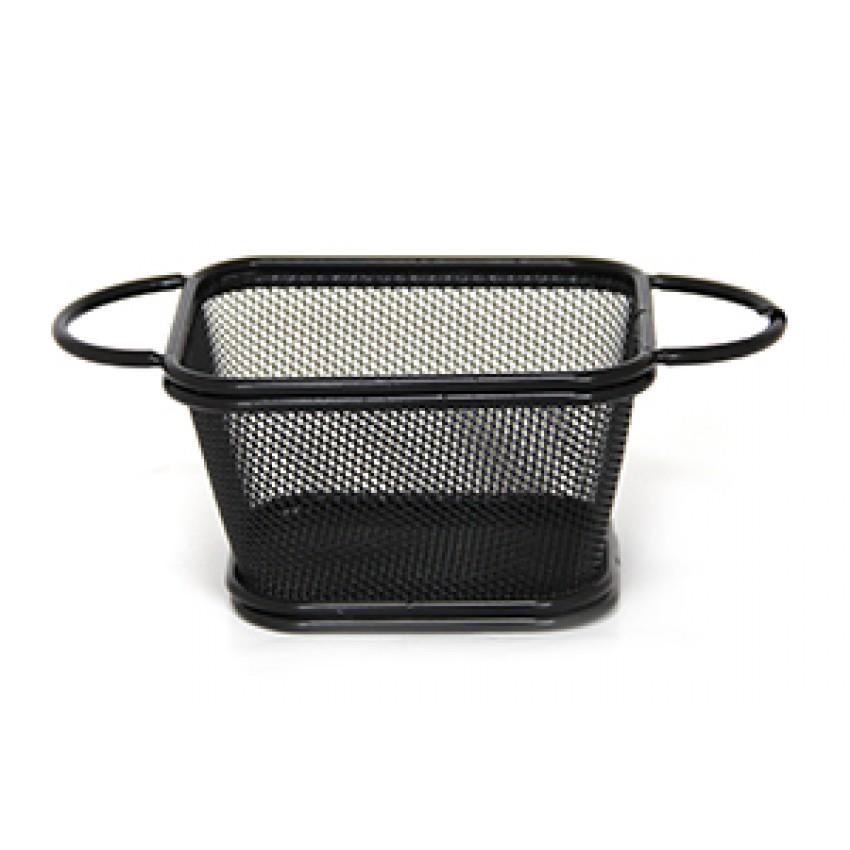 Метална черна кошница за сервиране - 10.5x9x6cm.
