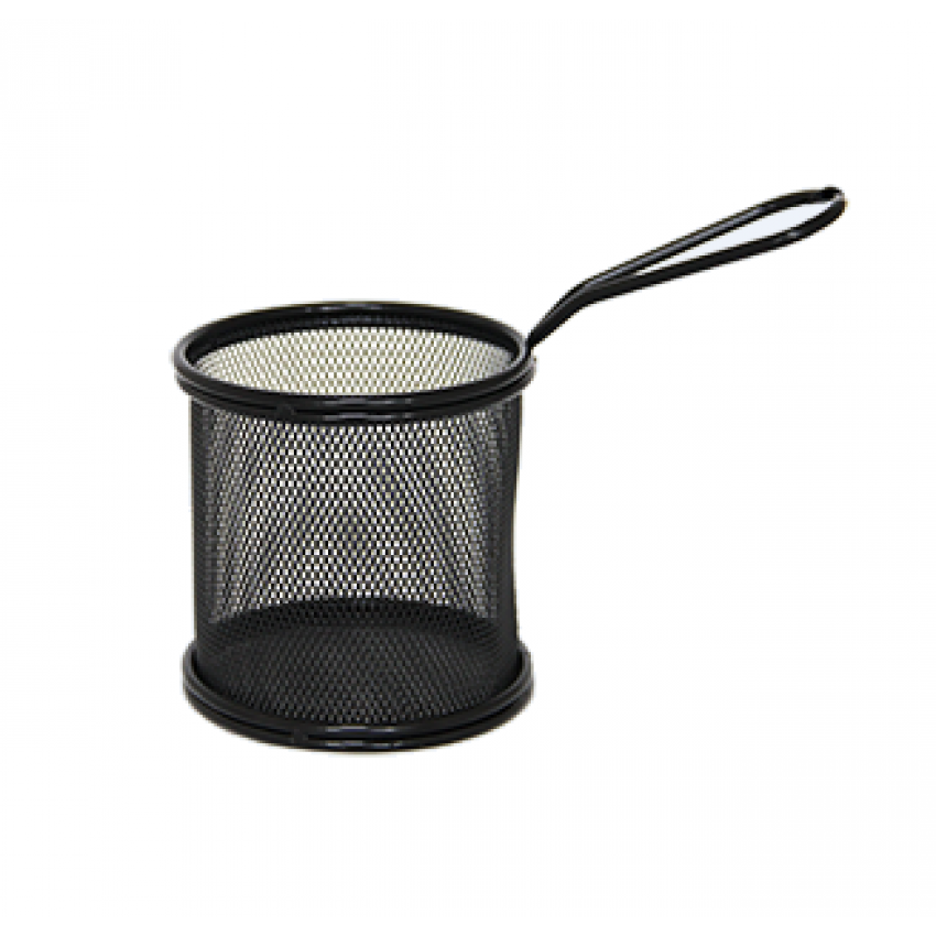 Метална черна кошница за сервиране - кръгла - 9x9cm.