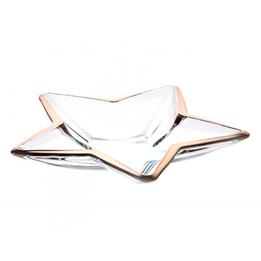 Стъклено плато 35см звезда с платинен кант - 1 брой