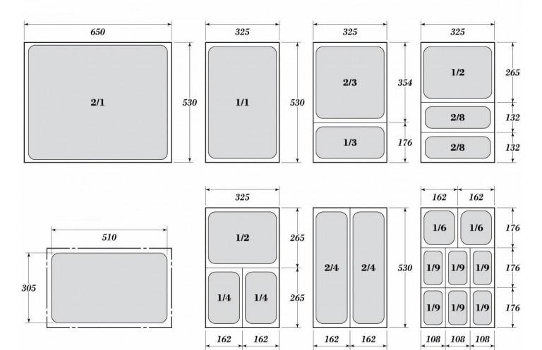 Гастронорми 1/2 с размер 32.5 х 26.5 см.
