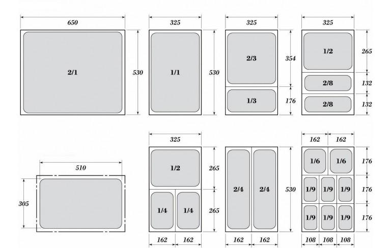 Гастронорми 1/3 с размер 32.5 х 17.6 см.