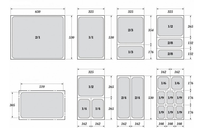 Гастронорми 1/4 с размер 26.5 х 16.2 см.