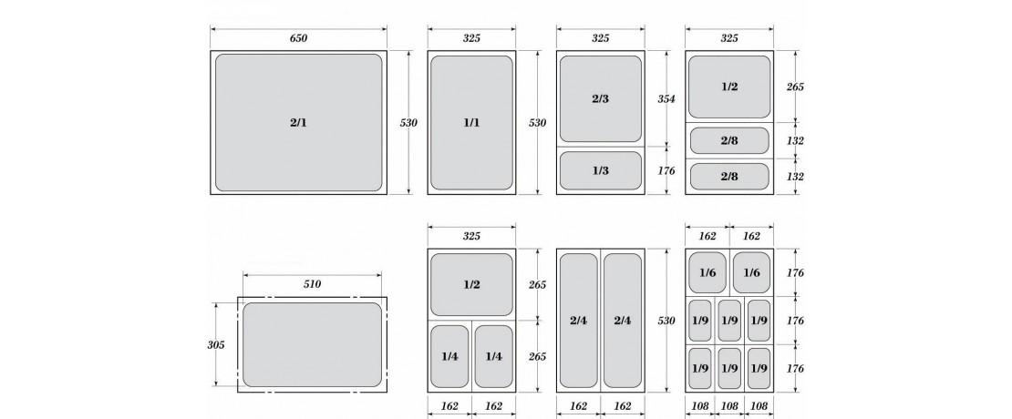 Гастронорми 2/1- перфорирани с размер 65 х 53 см.