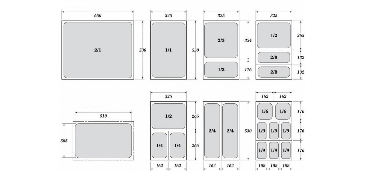 Гастронорми 1/1 - перфорирани с размер 53 х 32.5 см.