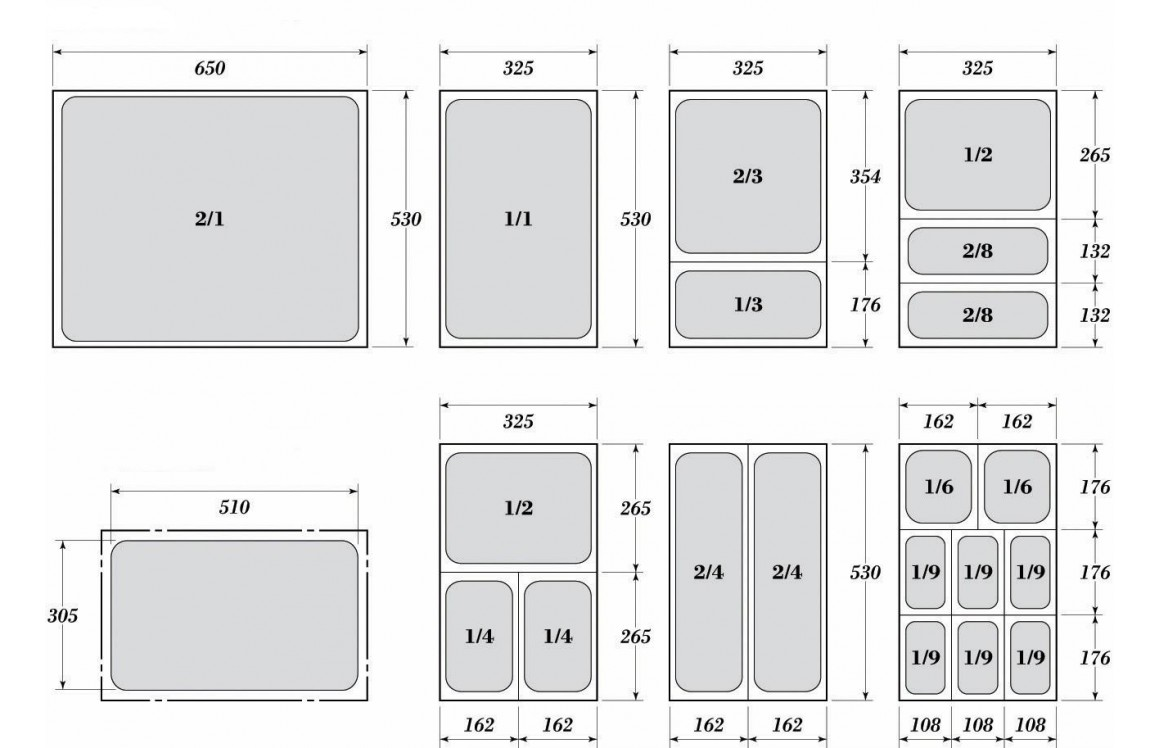 Гастронорми 1/2 - перфорирани с размер 32.5 х 26.5 см.