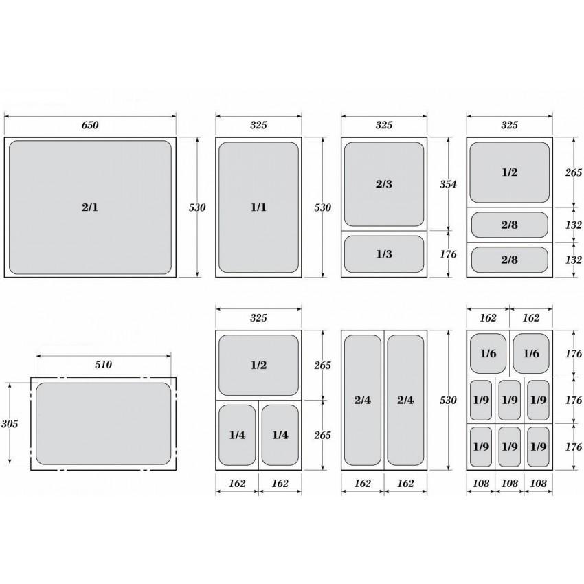 Гастронорми 1/3  - перфорирани с размер 32.5 х 17.6 см.