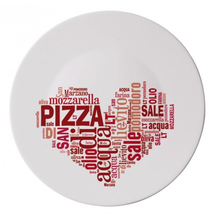 Чиния за пица 33 см. с декорация - червено сърце