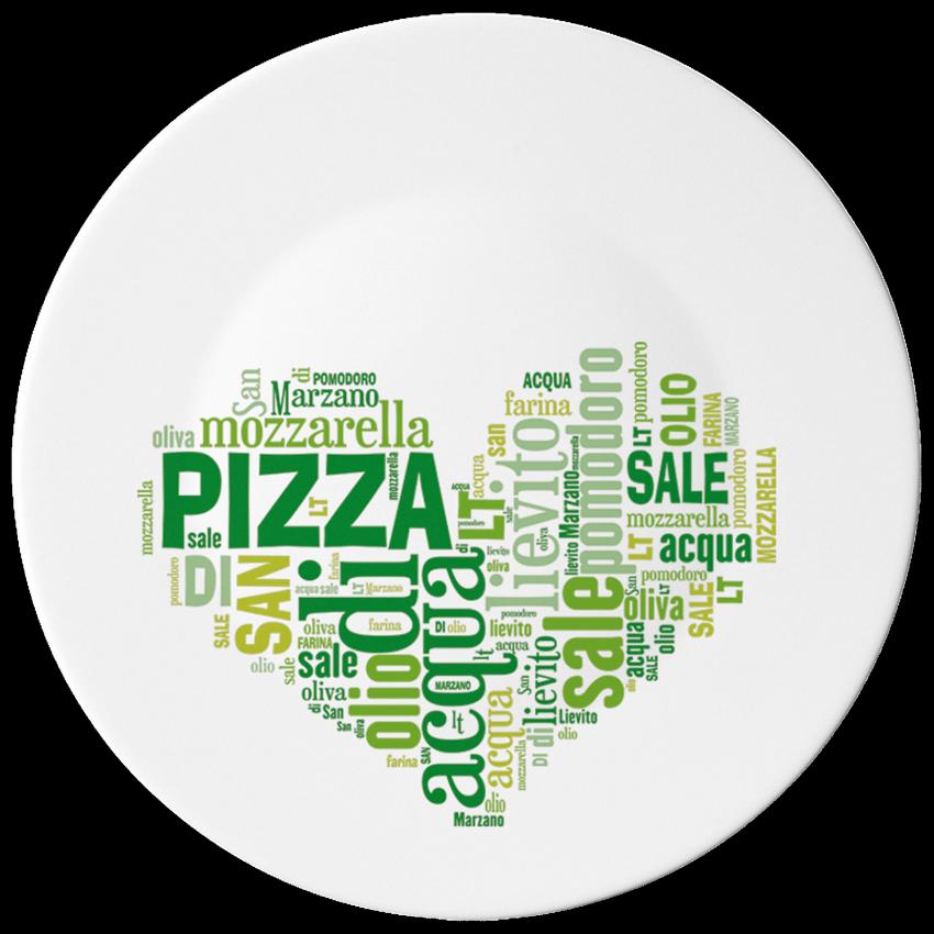 Чиния за пица 33 см. с декорация - зелено сърце