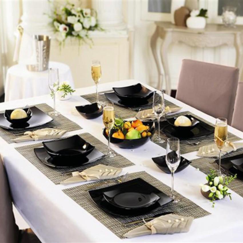 Купа за салата - дълбока чиния - черна - Quadrato - 6 броя