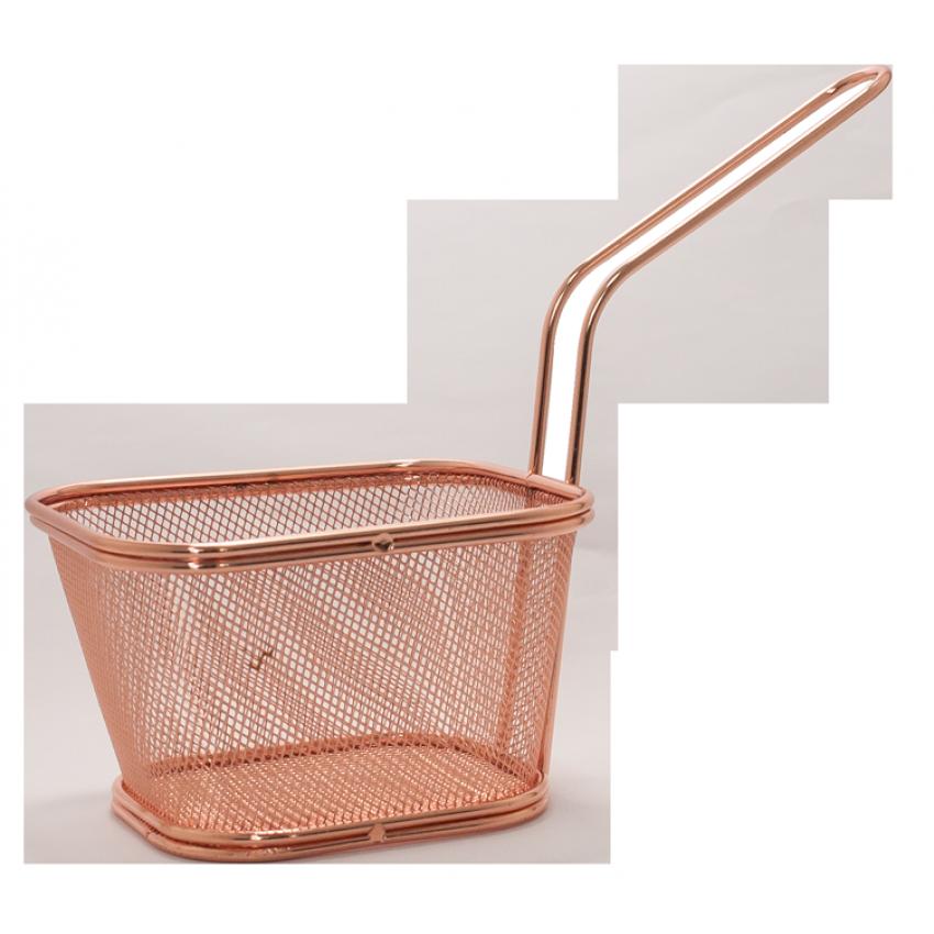Метална кошница за сервиране - меден цвят - 11x13x8.5cm.