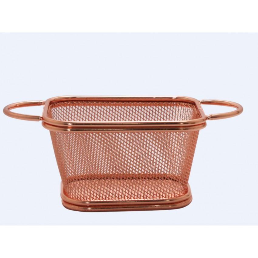 Метална кошница за сервиране - меден цвят - 10.5x9x6cm.