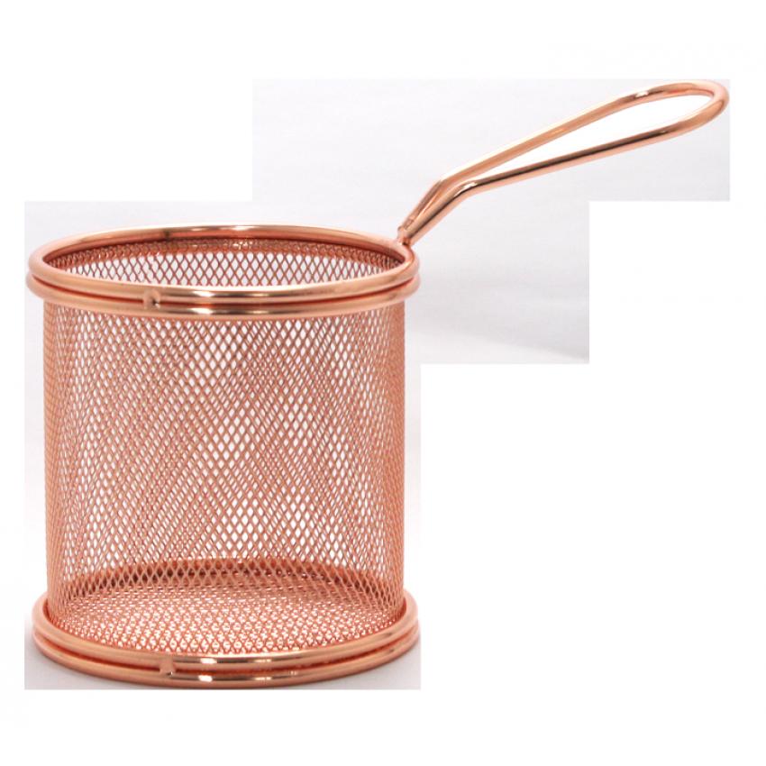 Метална кошница за сервиране - меден цвят - 9x9cm.
