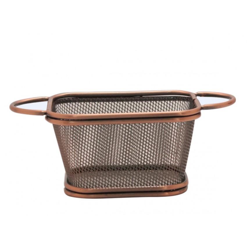 "Метална кошница за сервиране - цвят ""ковано желязо"" - 10.5см х 9см х 6 см."