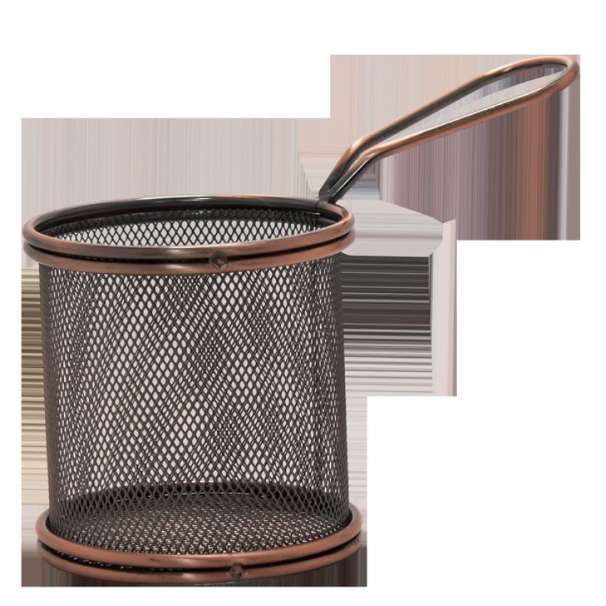 """Метална кошница за сервиране - цвят """"ковано желязо"""" - 9см х 9см."""