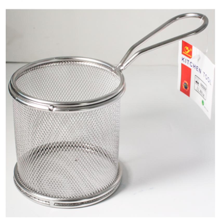 Метална кошница за сервиране - кръгла - 9см x 9см.