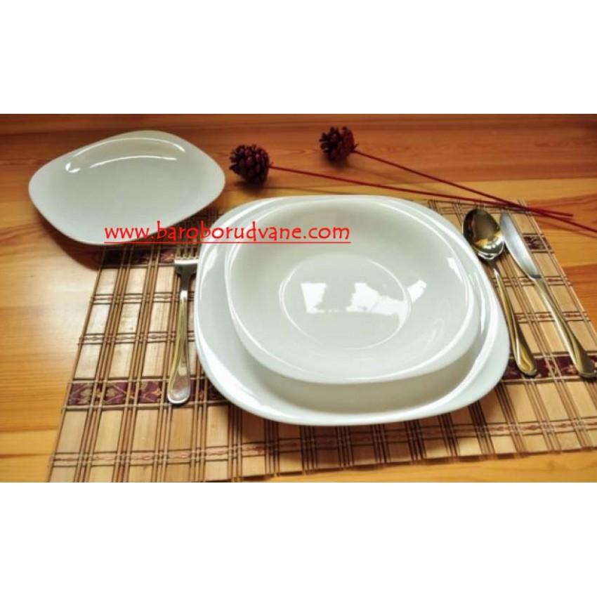 Десертна чиния 19см бяла - Carine - 6 броя