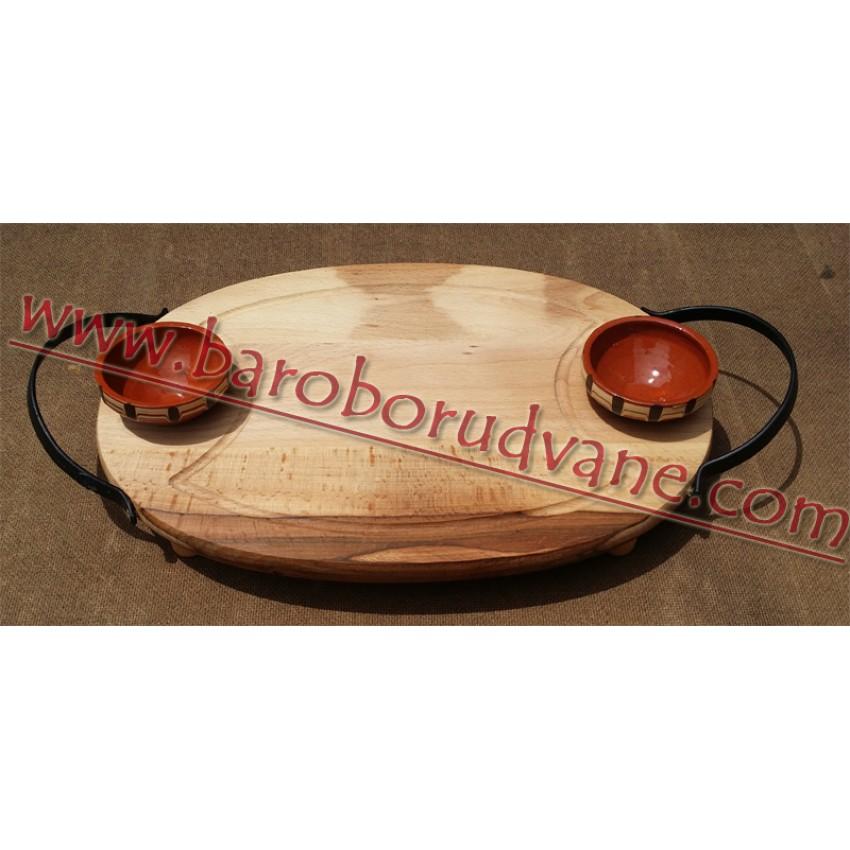 Дървен поднос с 2 солници