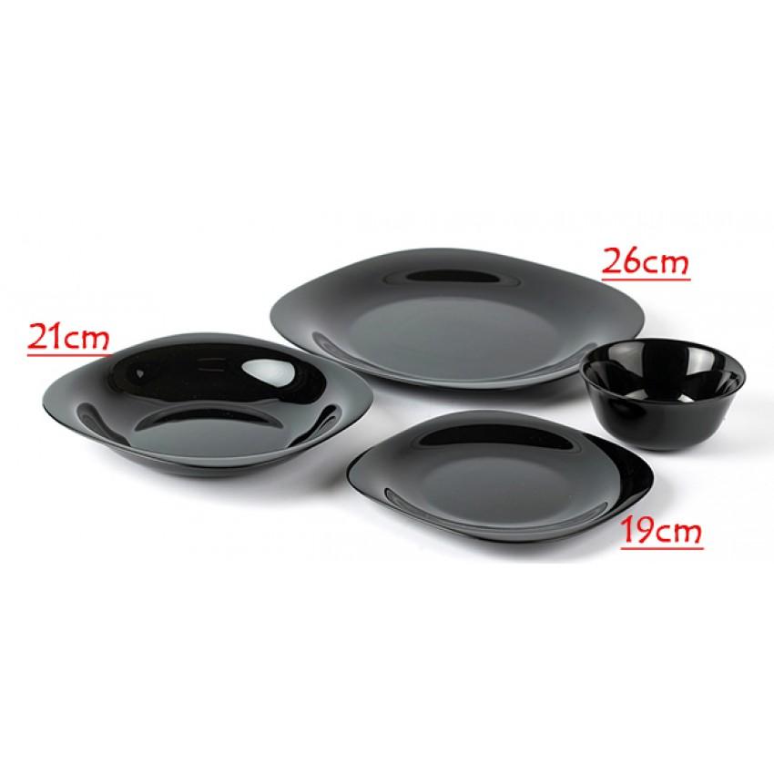 Основна чиния 26см черна - Carine - 6 броя